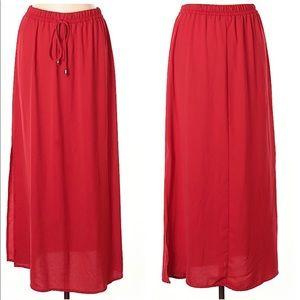 New Nordstrom Drawstring Waistband Red Maxi Skirt